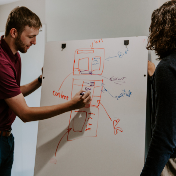 man and woman draw ideas on a whiteboard